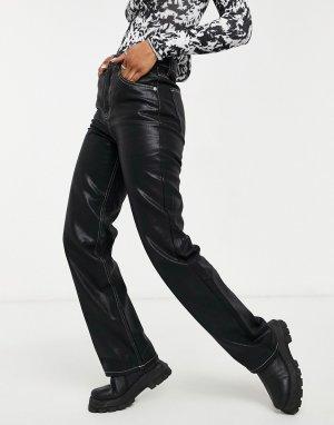 Черные джинсы прямого кроя с покрытием и широкими штанинами -Черный цвет Topshop