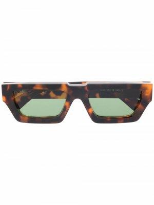 Солнцезащитные очки Manchester в прямоугольной оправе Off-White. Цвет: коричневый