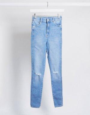 Супероблегающие джинсы с завышенной талией и рваными коленями -Синий Dr Denim