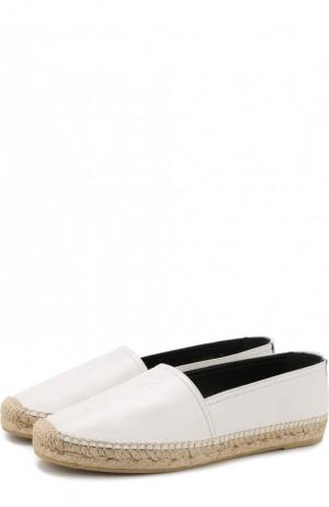 Кожаные эспадрильи с логотипом бренда Saint Laurent. Цвет: белый