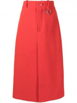 Юбка с завышенной талией и разрезом Balenciaga Pre-Owned. Цвет: красный
