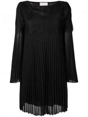 Приталенное платье с кружевной вставкой Aniye By. Цвет: черный