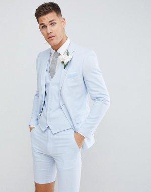 Льняной пиджак узкого кроя Wedding-Синий French Connection