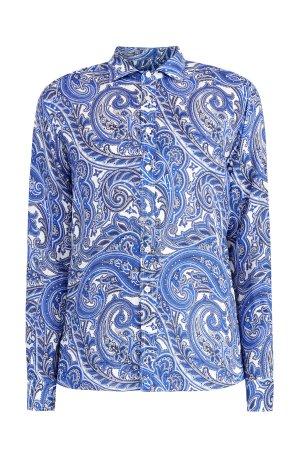 Яркая рубашка из фактурного льна с принтом пейсли и длинным рукавом ETRO. Цвет: синий
