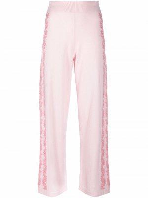 Прямые брюки с кружевом Barrie. Цвет: розовый