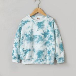 Для мальчиков Пуловер с принтом тай-дай SHEIN. Цвет: синий и белый