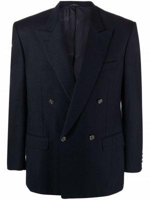 Двубортный пиджак 1980-х годов с заостренными лацканами Pierre Cardin Pre-Owned. Цвет: синий