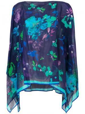 Блузка-накидка с принтом Emanuel Ungaro. Цвет: синий