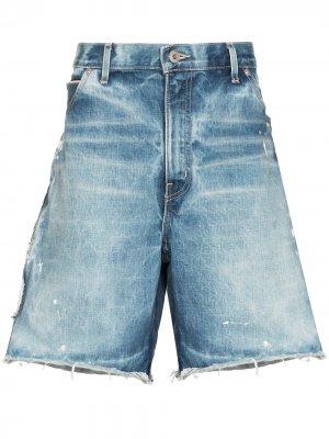 Джинсовые шорты Carpenter с эффектом потертости GALLERY DEPT.. Цвет: синий