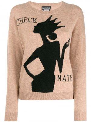 Пуловер вязки интарсия Boutique Moschino. Цвет: коричневый