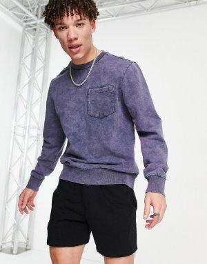 Темно-синий свитер с эффектом кислотной стирки и круглым вырезом от комплекта Another Influence