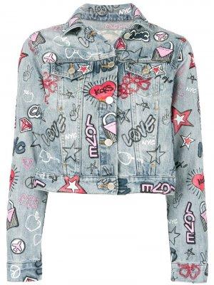 Укороченная джинсовая куртка с принтом Michael Kors. Цвет: синий