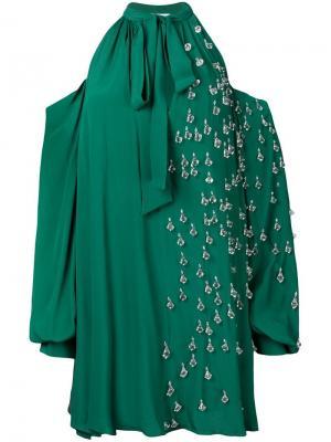 Платье со спущенными плечами с декором Au Jour Le. Цвет: зеленый