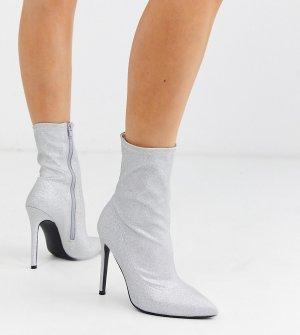 Серебристые блестящие полусапожки на высоком каблуке для широкой стопы -Серебряный ASOS DESIGN