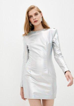 Платье Balmain. Цвет: серебряный