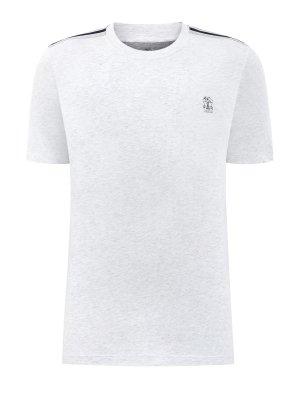 Хлопковая футболка из джерси с контрастной отделкой BRUNELLO CUCINELLI. Цвет: белый