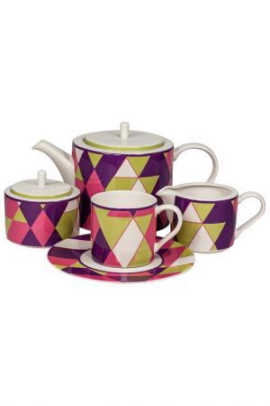 Сервиз чайный 17 пр. 6 персон Royal Porcelain Co. Цвет: белый, фиолетовый, зеленый