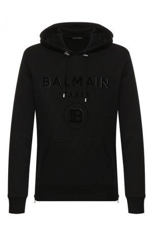 Хлопковое худи Balmain. Цвет: черный