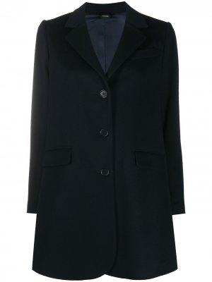 Однобортное пальто оверсайз Aspesi. Цвет: синий