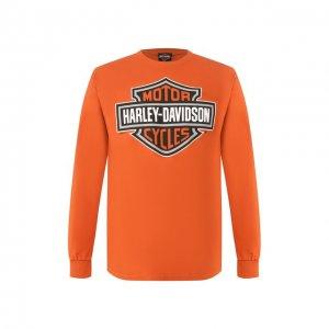 Хлопковый лонгслив Exclusive for Moscow Harley-Davidson. Цвет: оранжевый