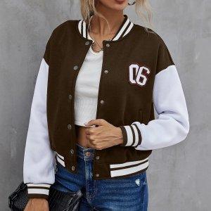 Контрастная куртка-бомбер с заплатой цифры SHEIN. Цвет: шоколадно-коричневый