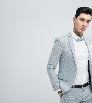 Пиджак супероблегающего кроя в ломаную клетку wedding-Голубой Heart & Dagger