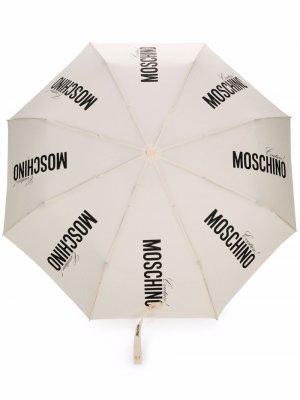 Logo-print contrast-handle umbrella Moschino. Цвет: белый