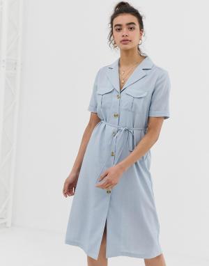 Платье-рубашка миди с воротником в виде лацканов Emory Park. Цвет: серый