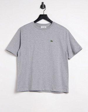 Серая футболка из хлопка с круглым вырезом -Серый Lacoste