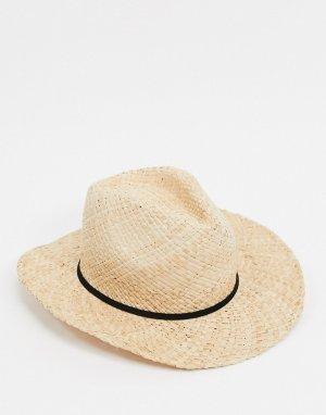 Коричневая соломенная шляпа -Коричневый Bershka