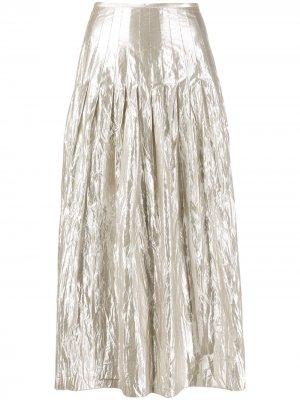 Плиссированная юбка с жатым эффектом Luisa Cerano. Цвет: золотистый