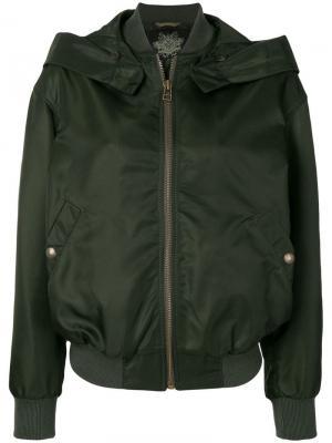 Куртка-бомбер с капюшоном Mr & Mrs Italy. Цвет: зеленый