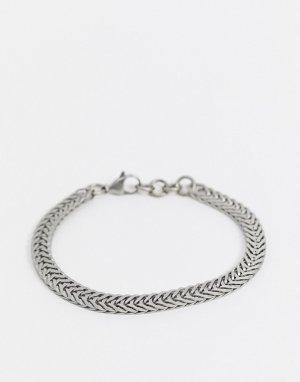 Плоский серебристый браслет из цепочки-змейки -Серебряный Seven London