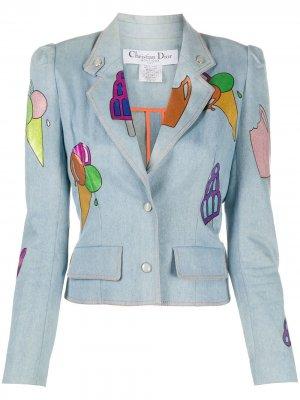 Джинсовая куртка с принтом Christian Dior. Цвет: синий