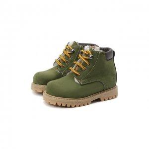 Кожаные ботинки Gallucci. Цвет: зелёный