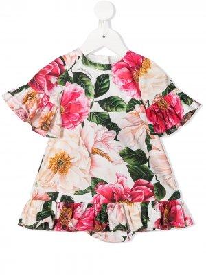 Платье с оборками и цветочным принтом Dolce & Gabbana Kids. Цвет: розовый