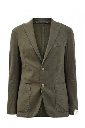 Однобортный пиджак из хлопка с добавлением волокон льна ELEVENTY. Цвет: зеленый