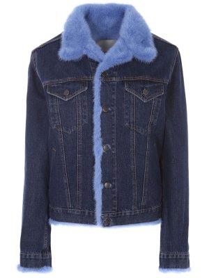 Джинсовая куртка с мехом RinDi. Цвет: разноцветный