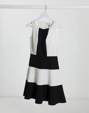 Платье в стиле колор блок Closet-Черный Closet London