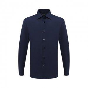 Хлопковая сорочка Ermenegildo Zegna. Цвет: синий