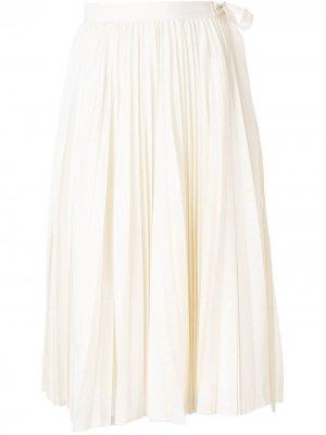 Плиссированная юбка миди Dice Kayek. Цвет: белый