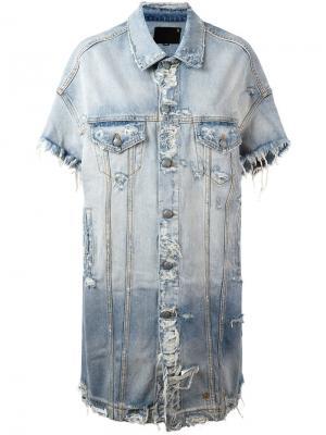Длинная джинсовая куртка R13. Цвет: синий