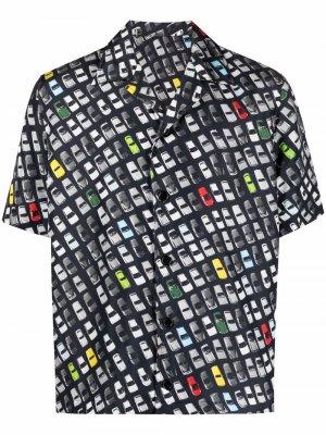 Рубашка с короткими рукавами и принтом Bottega Veneta. Цвет: черный