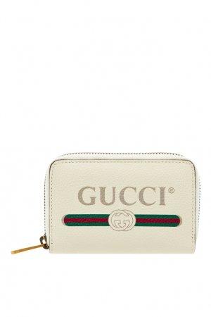 Белый кожаный кошелек с логотипом Gucci Man. Цвет: белый