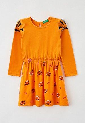 Платье United Colors of Benetton. Цвет: оранжевый