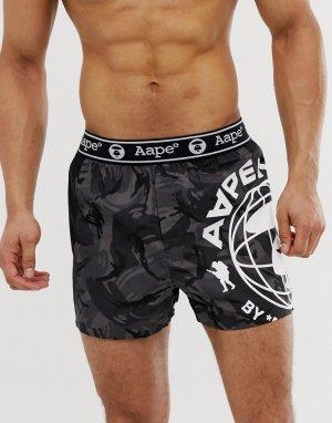 Черные боксеры с принтом AAPE By A Bathing Ape. Цвет: черный