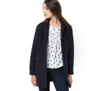 Жакет-пальто из трикотажа мулине, шерсть и мохер ESPRIT. Цвет: синий морской