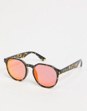 Солнцезащитные очки в квадратной черепаховой оправе с красными стеклами -Красный River Island