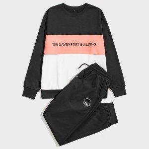 Мужской Контрастный с текстовым принтом Пуловер & заплатой на кулиске Спортивные брюки SHEIN. Цвет: многоцветный