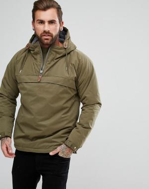Куртка анорак с молнией Fat Moose. Цвет: зеленый